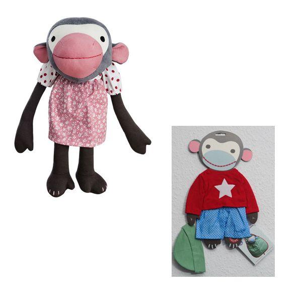 Affe Frida mit zusätzlichem Kleiderset