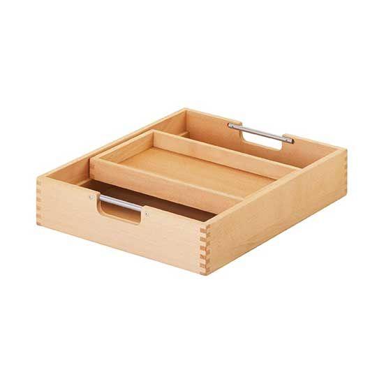 Matti Schubkasten natur mit Einsatz für Rollcontainer