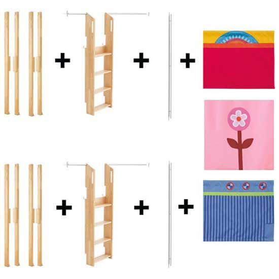 Matti Aufrüstsatz für Etagenbett natur mit Stoffverkleidung blau