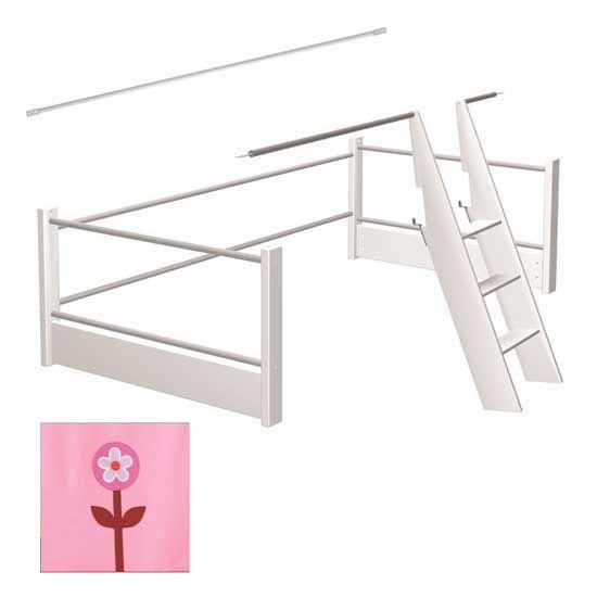 Matti Aufrüstsatz für Spielbett weiss mit Stoffverkleidung rosa