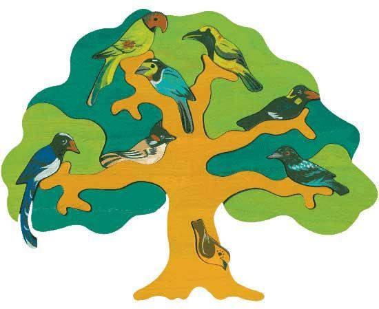 Puzzle Vogelbäume - Asien